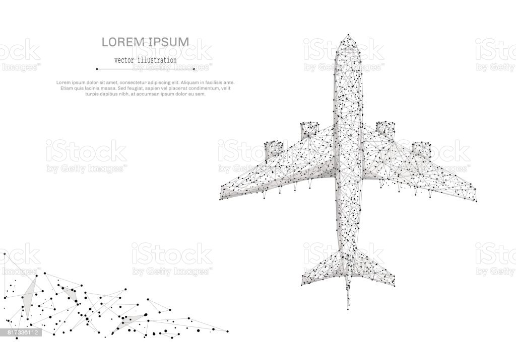 airliner top view low poly gray vector art illustration
