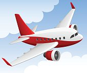 Vector illustration of a cartoon style jet airliner against a background of clouds and sky.  Jet and background are on separate layers, easily separated in a program like Illustrator, etc. Illustration uses linear gradients.  Both ai and AI8-compatible .eps formats are included, along with a high-res .jpg and a high-res .png.