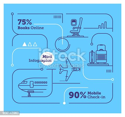 Vector Infographic Line Design Elements for Airlines