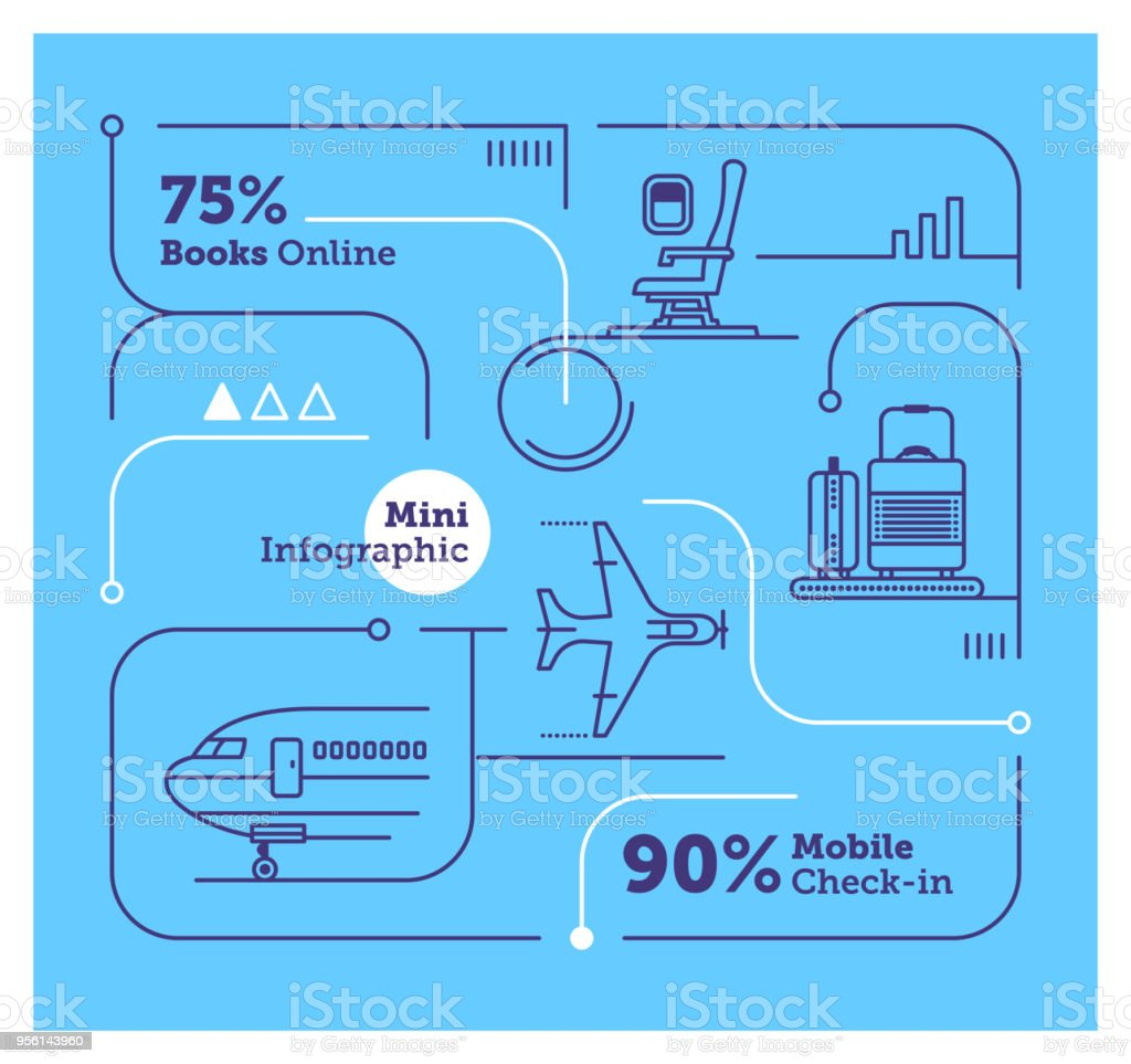 航空会社ミニ インフォ グラフィック ベクターアートイラスト
