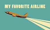 Vector illustration Card in retro style and colors on the subject of aviation and the airlines of the country, soaring in the sky plane