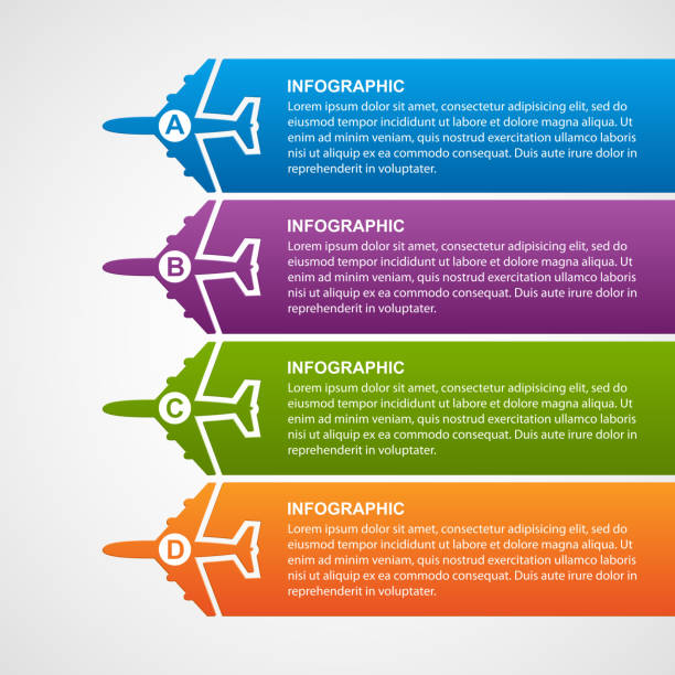 Airlines travel airplane banner infographics template vector art illustration