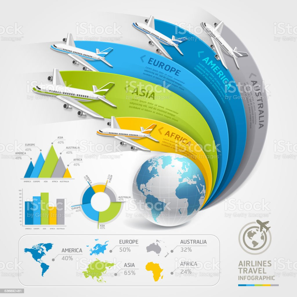Airlines travel infographics. vector art illustration