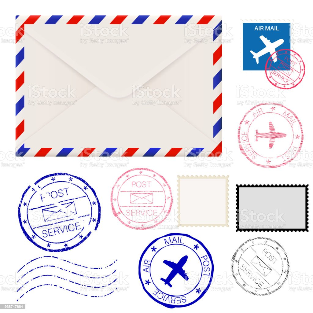 Airmail envelope with postmarks