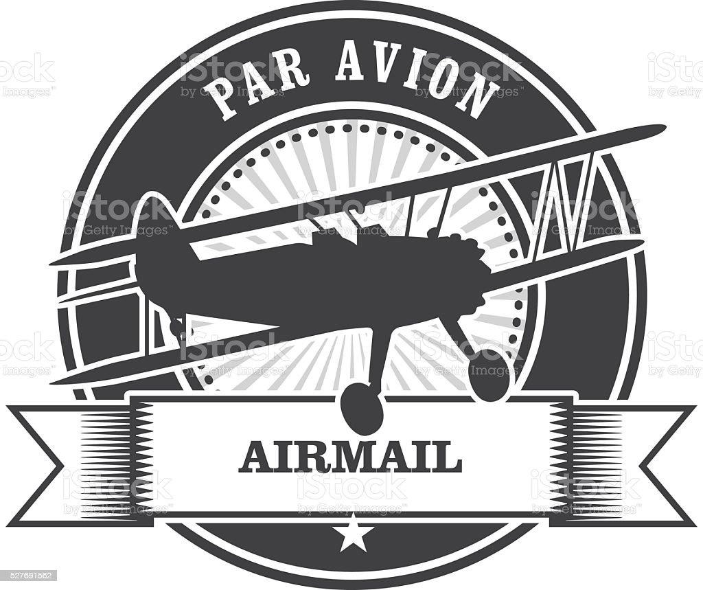 Airmail stamp with biplane - per avion vector art illustration
