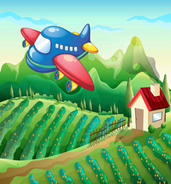 flugzeug über der farm mit einem haus - aerial overview soil stock-grafiken, -clipart, -cartoons und -symbole