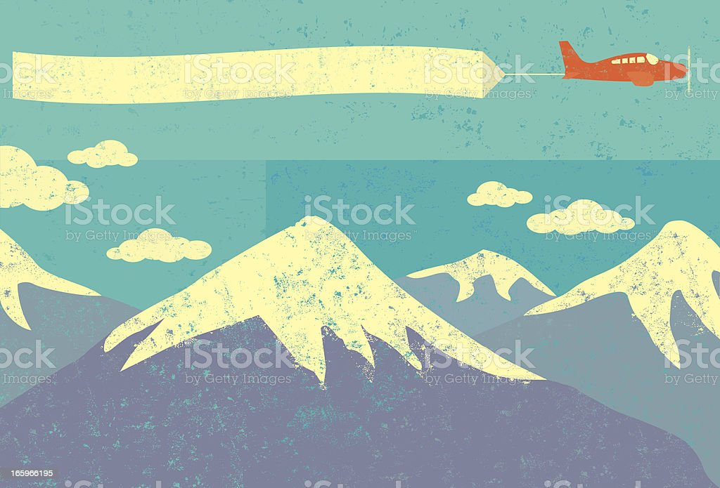 Airplane advertising in the mountains royalty-free stock vector art