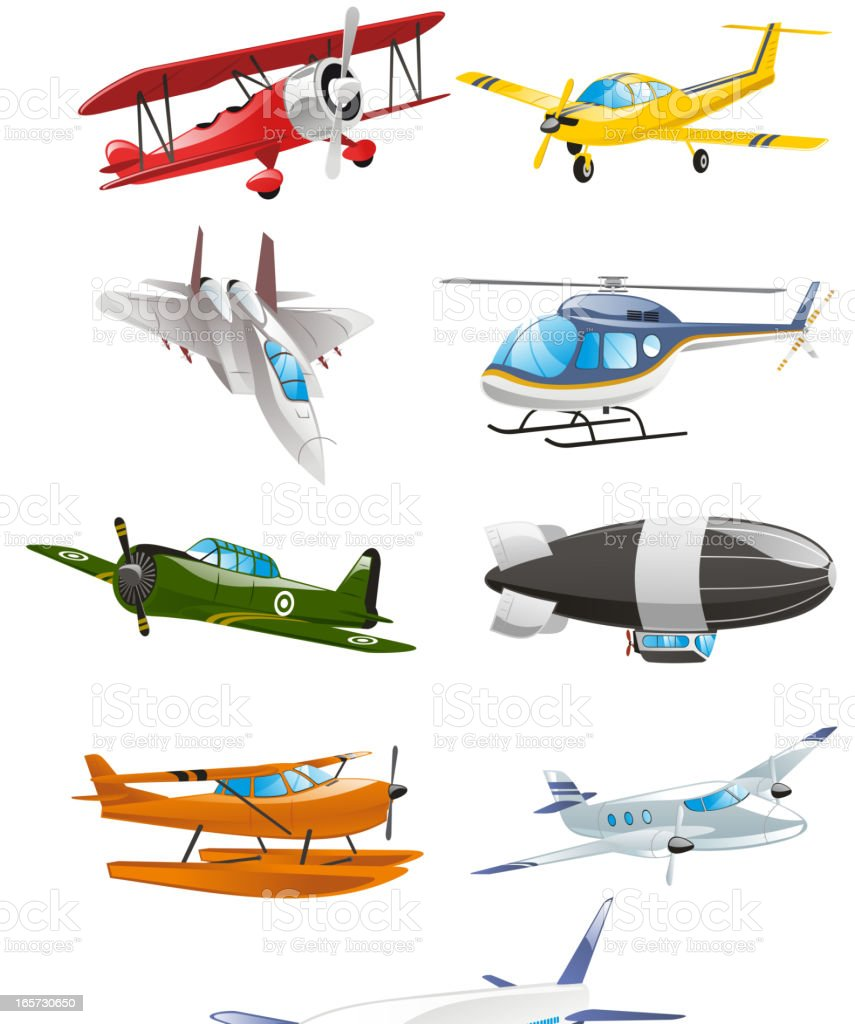 Airplane Aircraft Airbus Airliner Airship Monoplane Biplane Collection vector art illustration