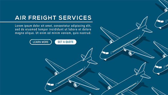 Isometric vector illustration of airplanes in a seamless pattern. Travel, airline, flights background with copy space. Design for brochures, brochure covers, flyers, landing web pages, email newsletters, business cards.