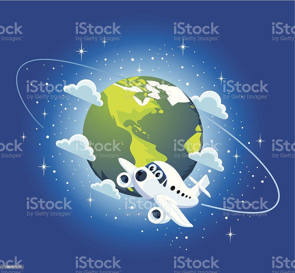 914b6d8c91 Avión y dibujo mapa del mundo ilustración de avión y dibujo mapa del mundo  y más