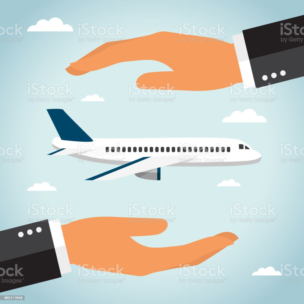 Airplane and hands vector art illustration