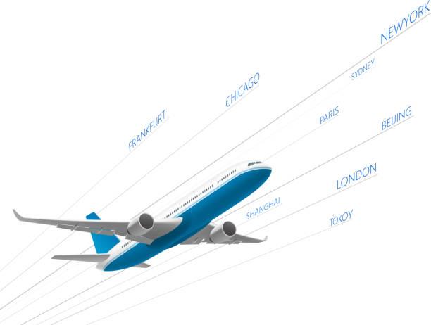airplane ariline - иллюстрации на тему туристические направления stock illustrations