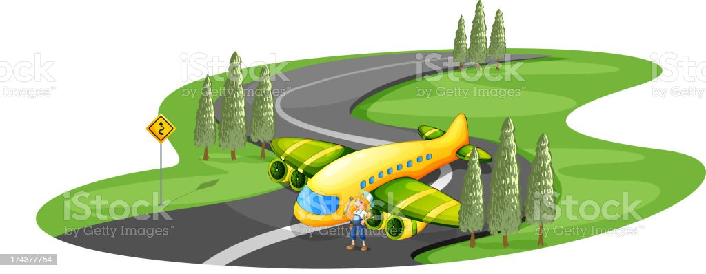 Airplane at road beside the young girl royalty-free stock vector art