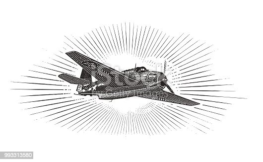 Engraving illustration of a WW2 Airplane, the Avenger Dive Bomber. Flying in clouds.