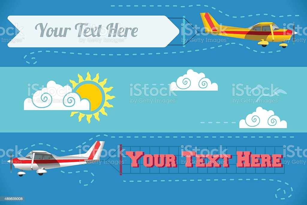 Airplane Banner Vehicle 2D vector art illustration