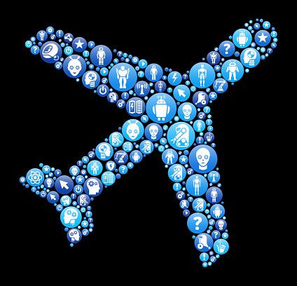 Airplane  Blue Icon Pattern Background