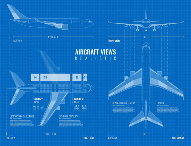 airplane blueprint drawing set Aviation industrial dimensioned drawing blueprint of outline airplane top side and front views realistic vector illustration airport patterns stock illustrations