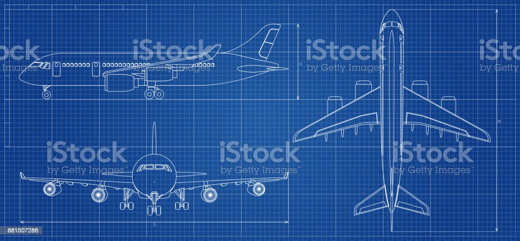 Airplane blueprint. Outline aircraft on blue background. Vector illustration - illustrazione arte vettoriale