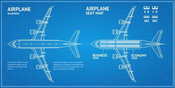 bildbanksillustrationer, clip art samt tecknat material och ikoner med flygplan blueprint plan ovansida. vektor - sittplats