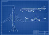 istock Airplane Blueprint. White Outline Aircraft On Blue 1288646870