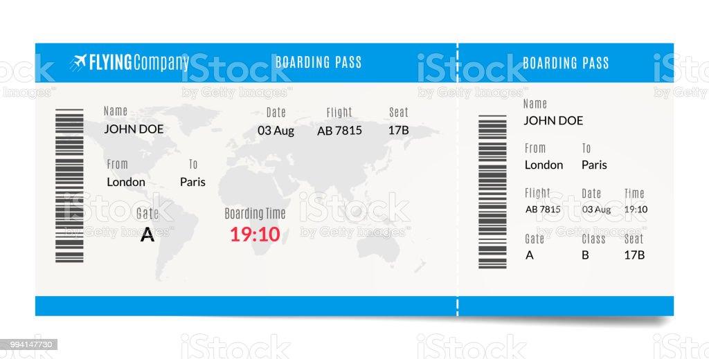 Flugzeugbordkarte Design Flugzeug Reisen Ticket Abbildung ...
