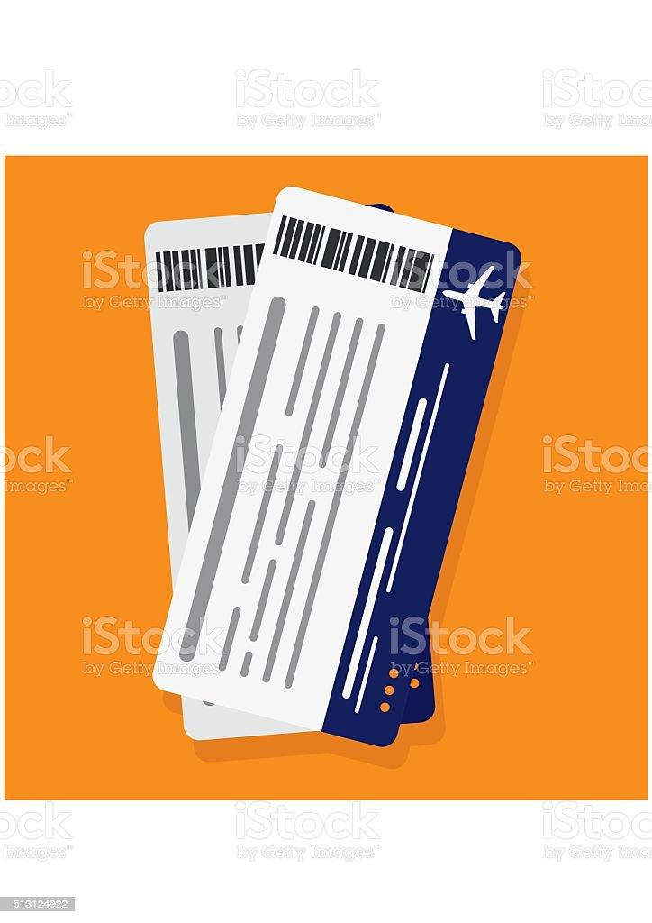 Flugzeug Nichtbeförderung pass-tickets. Reise-Konzept isoliert auf ogange Hintergrund – Vektorgrafik