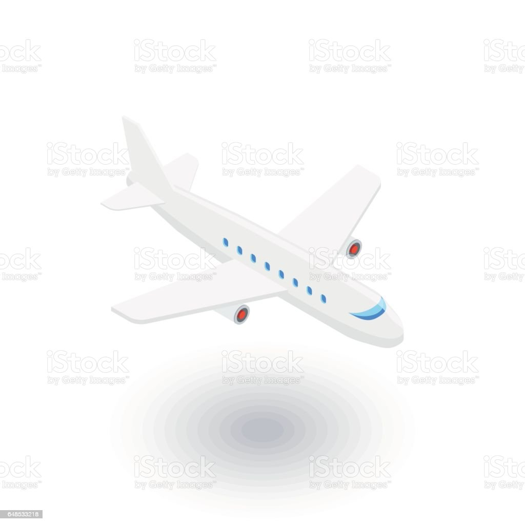 airplane, boeing plane, travel isometric flat icon. 3d vector vector art illustration