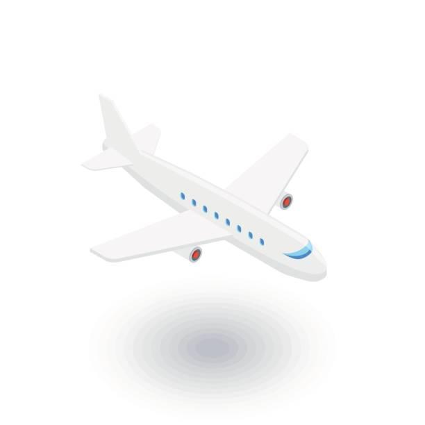 airplane, boeing plane, travel isometric flat icon. 3d vector vector art illustration