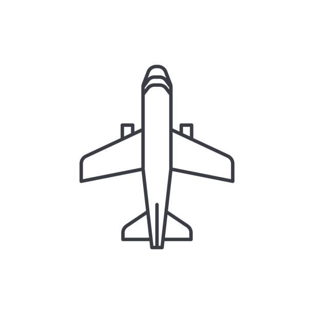 飛行機、ボーイングの飛行機旅行の細い線のアイコン。線形ベクトル シンボル ベクターアートイラスト