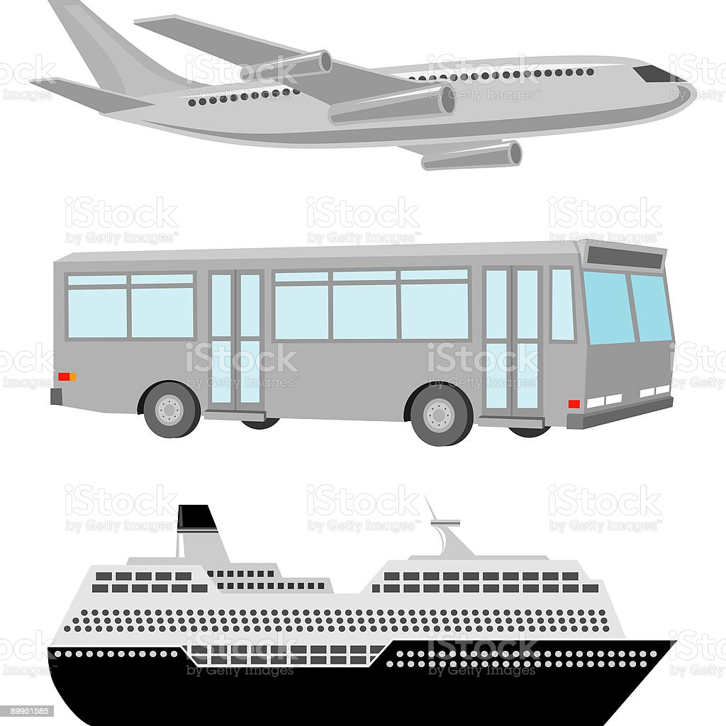 Airplane, Bus and Cruise Ship Icons royalty-free stock vector art