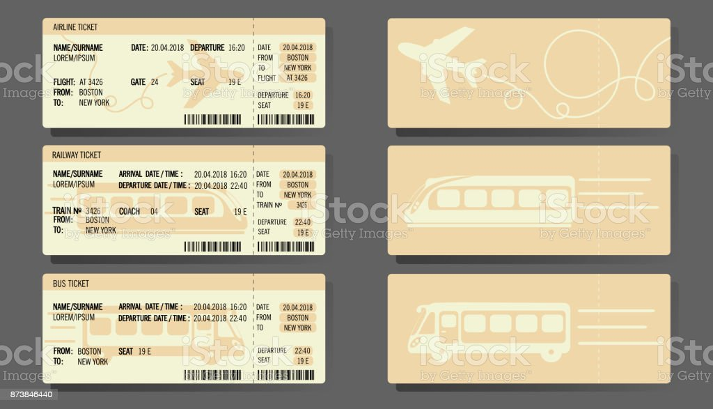 Billets de Train Bus avion, design concept - Illustration vectorielle