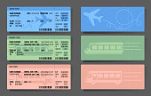 Bus Plane Train ticket concept design. Vector illustration in colour