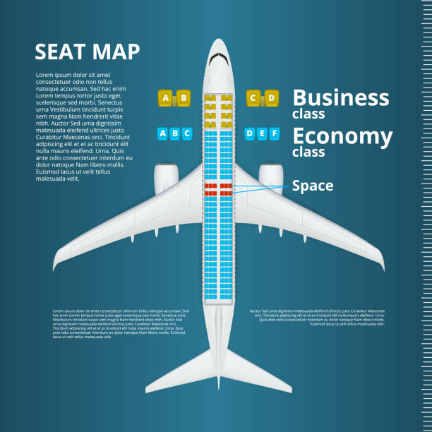 airplane business or economy class seat map template - airplane seat stock illustrations