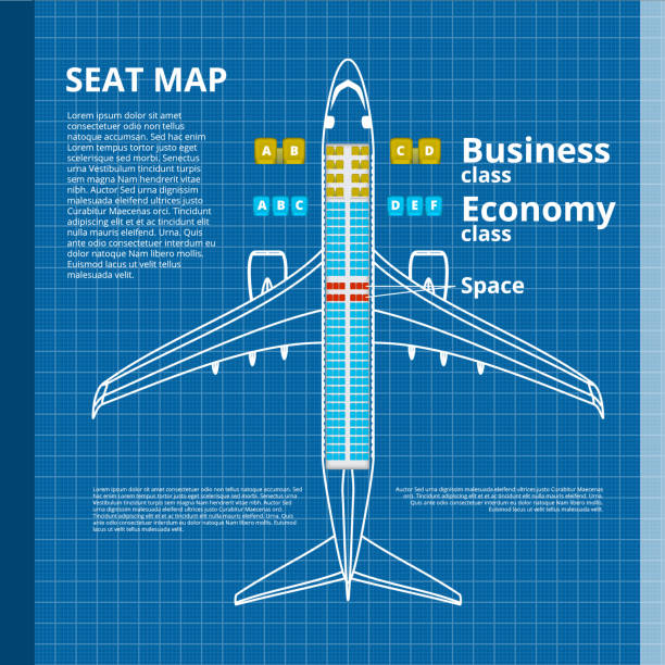 airplane business or economy class seat map white contour template - airplane seat stock illustrations