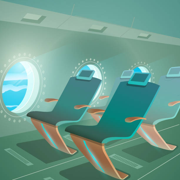 airplane cabin view passenger seat and porthole - airplane seat stock illustrations