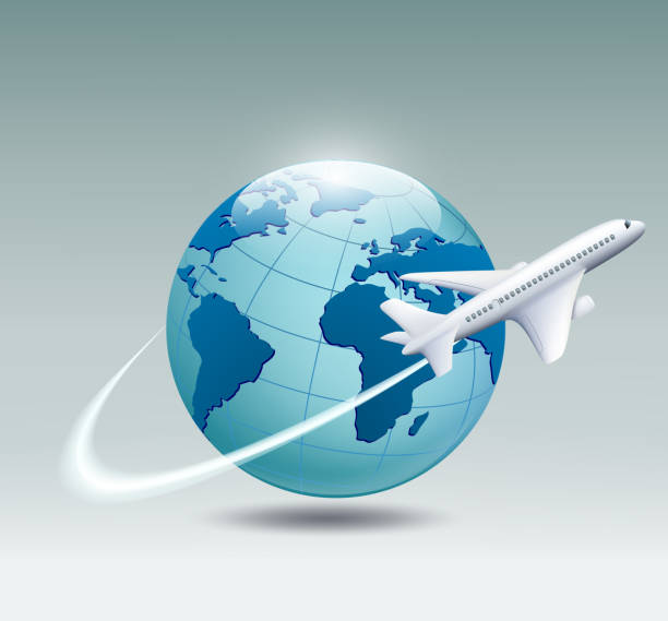 airplane circling the globe - travel agent stock illustrations, clip art, cartoons, & icons