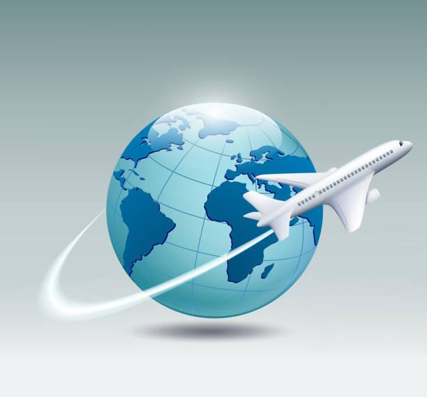 Avion qui s'enroule le monde - Illustration vectorielle