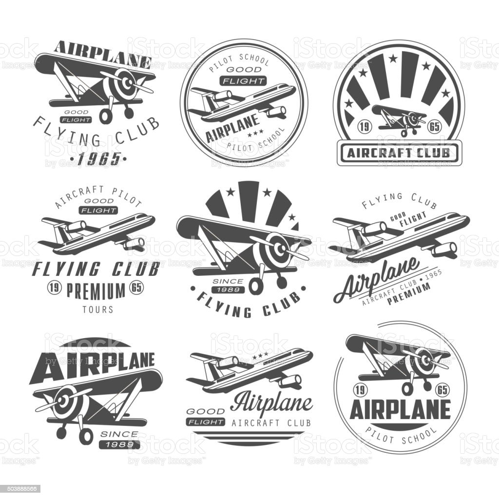 Airplane Club Emblems vector art illustration