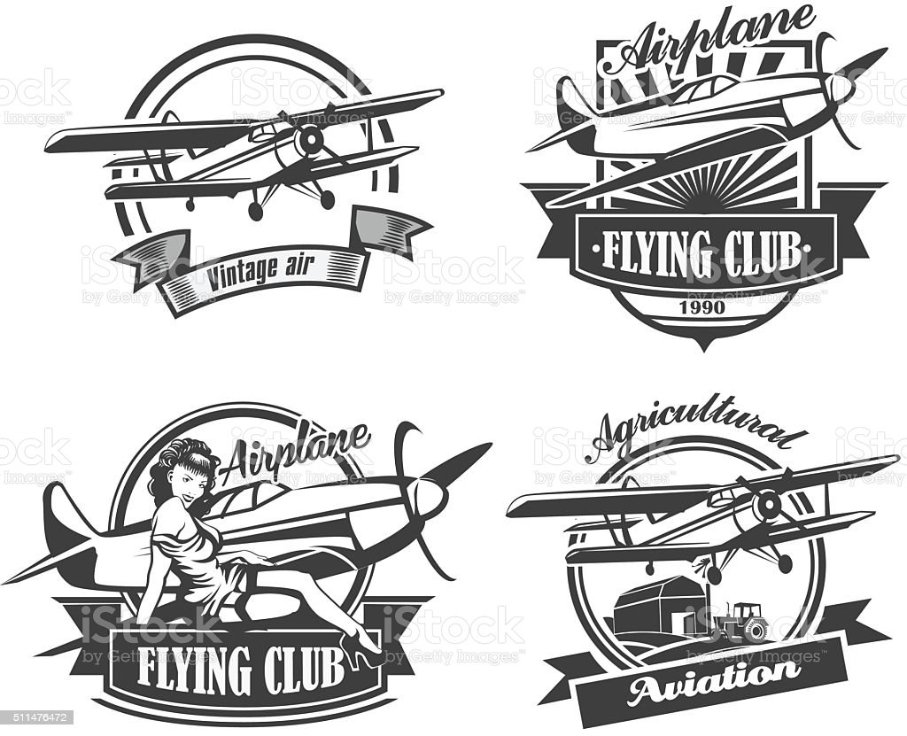 Airplane Club Vector Illustration Emblem, vector illustration set vector art illustration