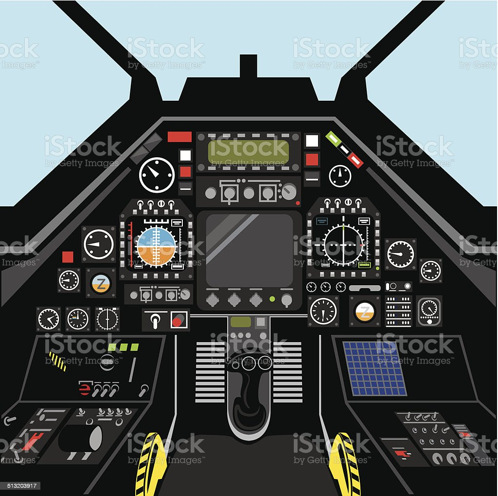 Airplane cockpit vector art illustration