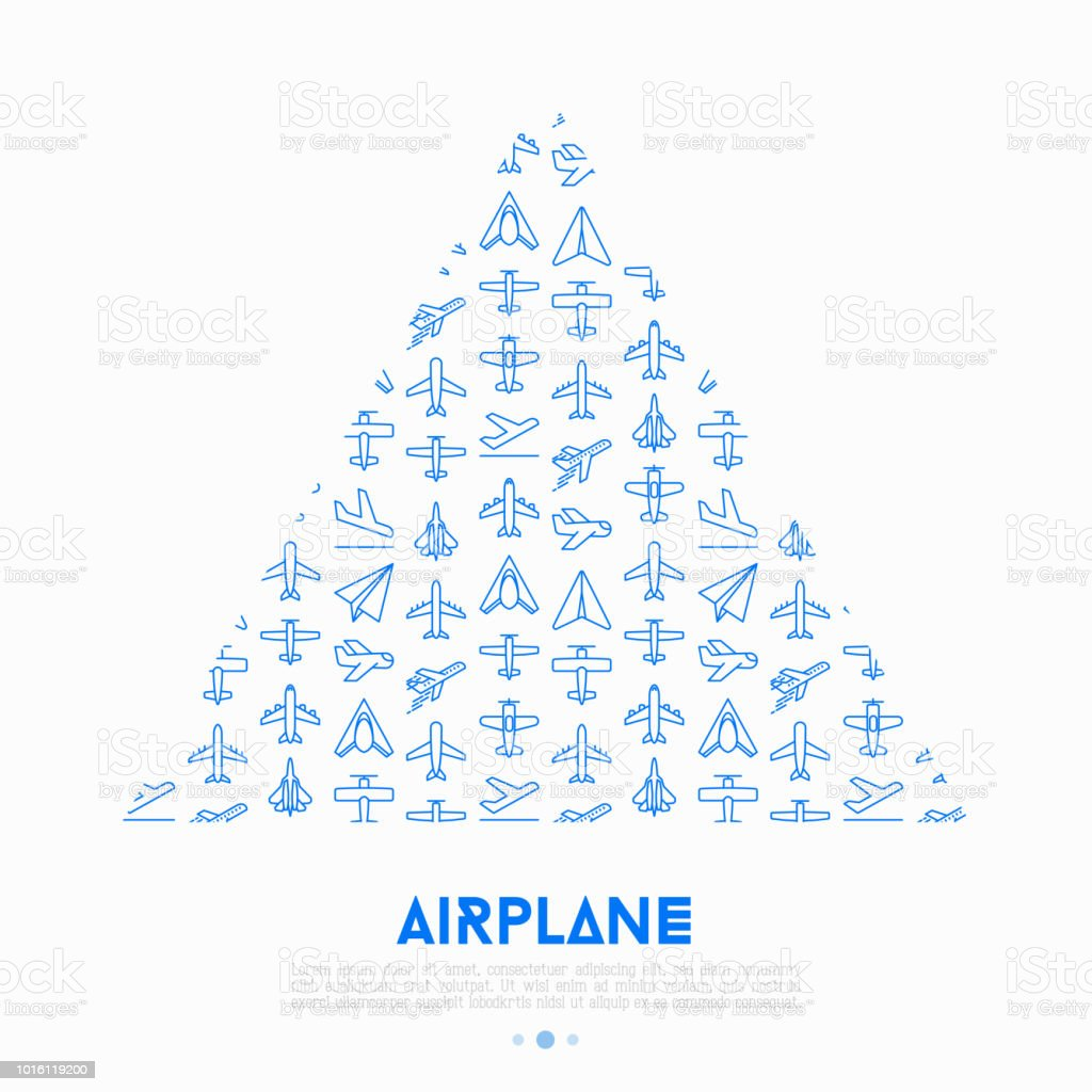 Airplane Concept In Triangle With Thin Line Icons Agricultural Aircraft  Passengers Plane Military Aviation Paper Plane Top Side Front Views Modern