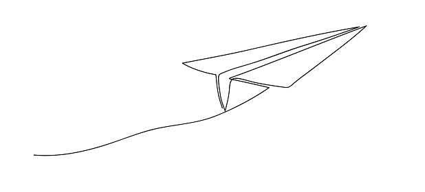 Airplane. Continuous line art drawing. Hand drawn doodle vector illustration in a continuous line. Line art decorative design.