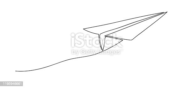 istock Airplane. Continuous line art drawing. Hand drawn doodle vector illustration in a continuous line. Line art decorative design. 1195946661