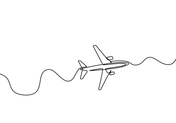 Airplane continuous one line drawing, minimalist design vector illustration isolated on white background. Airplane continuous one line drawing, minimalist design vector illustration isolated on white background. airport drawings stock illustrations