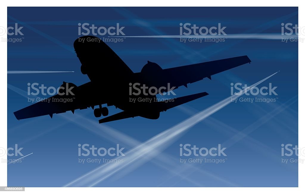 Airplane Contrails Air Pollution Blue Sky vector art illustration