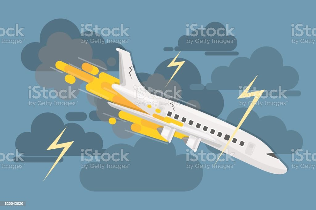 Airplane crash in clouds. vector art illustration