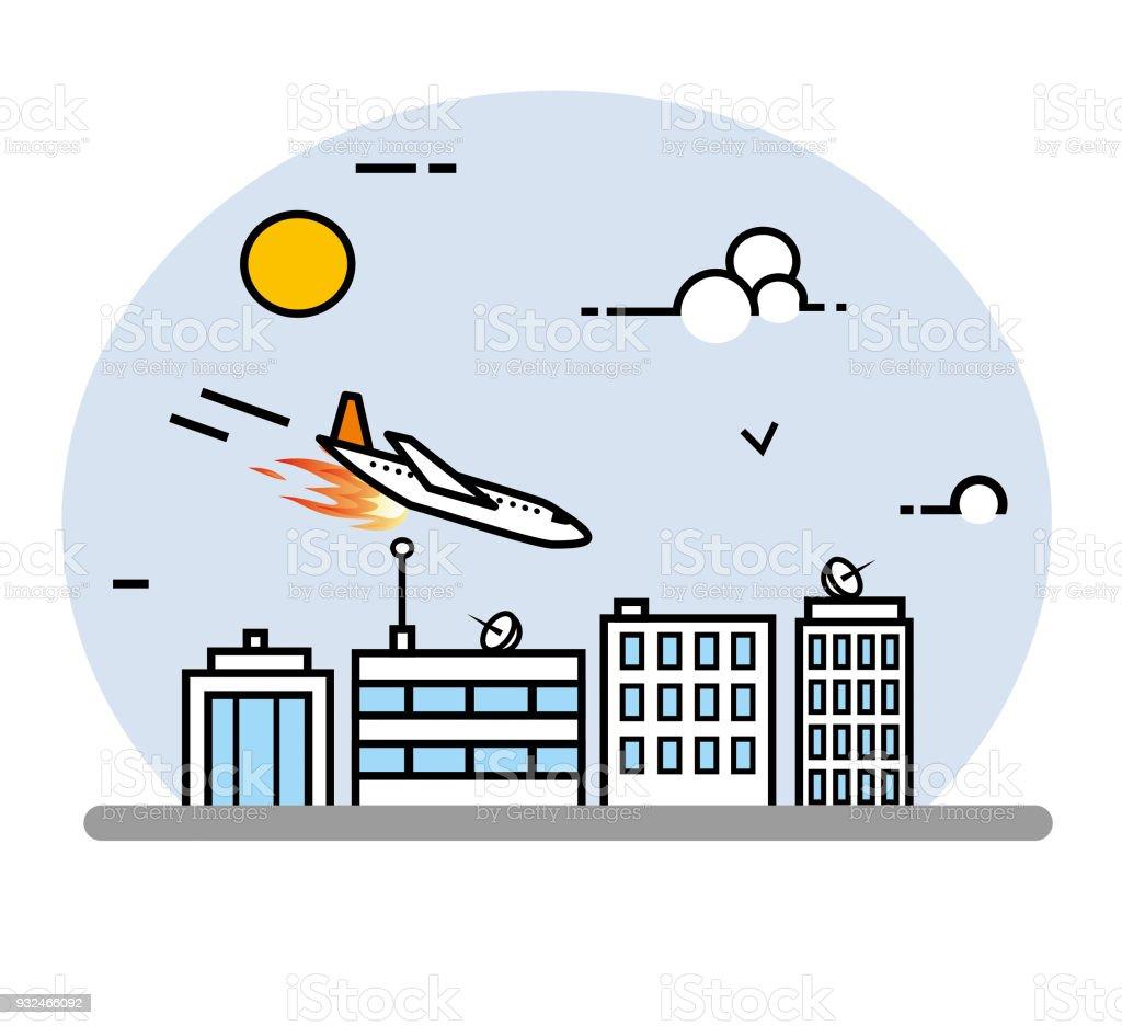Airplane crash line art illustration vector art illustration