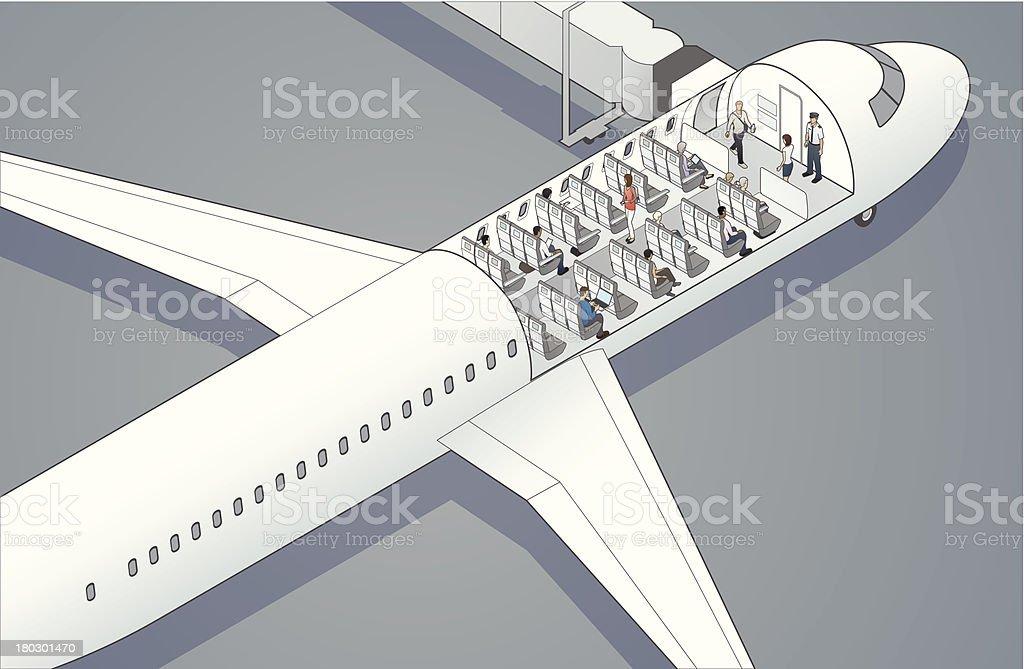 Airplane Cutaway Illustration vector art illustration