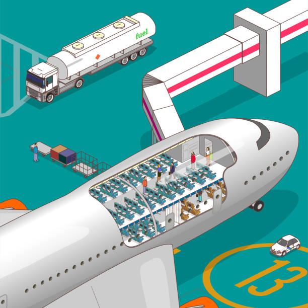 illustrazioni stock, clip art, cartoni animati e icone di tendenza di airplane cutaway - sedili aereo