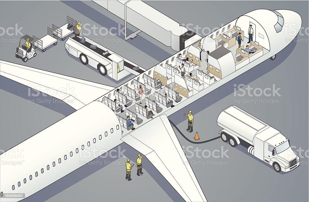 Airplane Cutaway vector art illustration